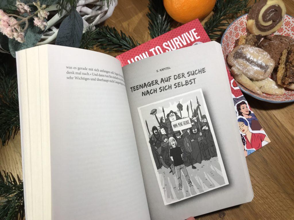 """Seite aus dem Buch """"How to survive mit Teenager"""" von Dagmar da Silveira Macedo"""