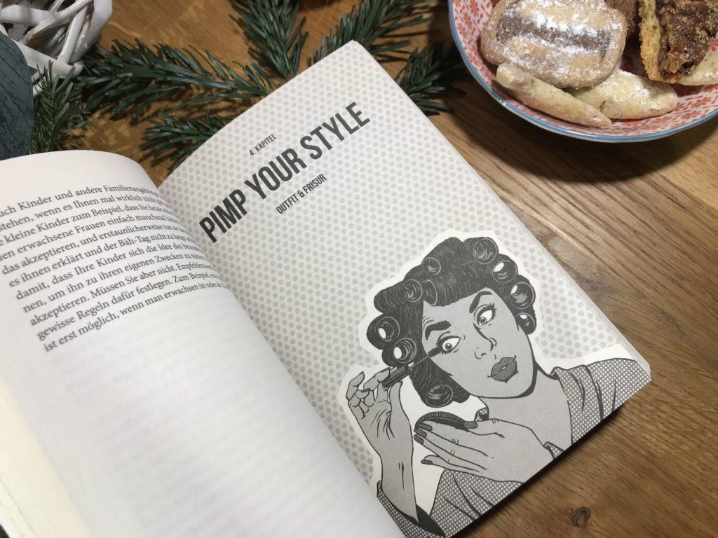 Aufgeschlagende Seite aus dem Buch How to survive als Frau ab 40 von Dagmar da Silveira Macedo